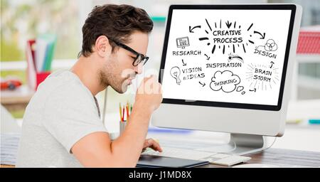 Digital composite of Businessman having coffee by computer with creative process planning - Stock Photo