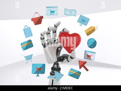 Digital composite of Android hand holding heart with online shopping drawings graphics - Stock Photo