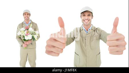 Digital composite of Composite image of man with flowers - Stock Photo