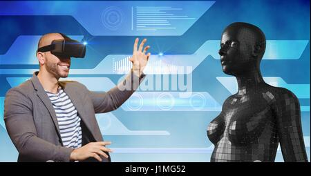 Digital composite of Happy man looking at 3d female figure through VR glasses