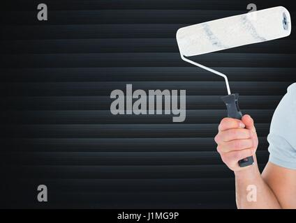 Digital composite of Hand with roller in front of blind - Stock Photo