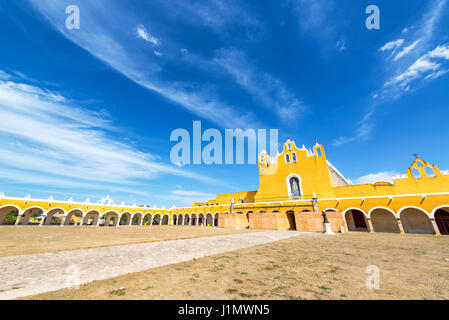 Courtyard in front of the monastery in Izamal, Mexico - Stock Photo