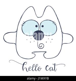 friendly cartoon cat - Stock Photo