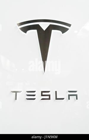CEBIT 2017 Hannover, Tesla Powerwall - Stock Photo