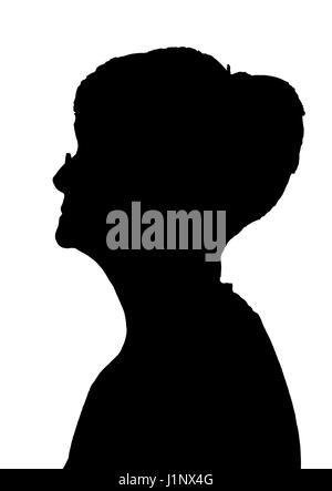 Side profile portrait silhouette of elderly lady blowing a ...  Face Profile Silhouette Blowing