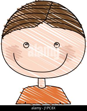 color pencil drawing of caricature half body boy with t-shirt - Stock Photo