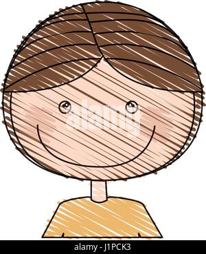 color pencil drawing of caricature half body guy with brown hair - Stock Photo