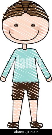color pencil drawing of caricature boy with t-shirt and shorts - Stock Photo