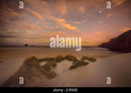 Southern lights, aurora australis over the sea, sand dunes, Sandfly Bay, Dunedin, Otago, Otago Peninsula, Southland, - Stock Photo