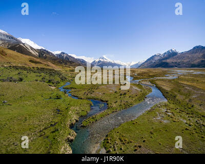 Wide river bed of the Tasman River, at back Mount Cook, Mount Cook National Park, Canterbury Region, Southland, - Stock Photo