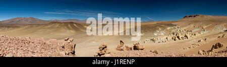 Panorama of the Salar de Tara, Atacama Desert, Chile - Stock Photo