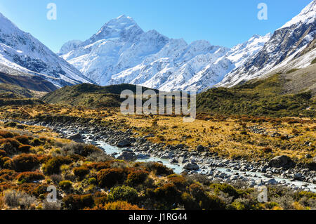 Hooker Valley in the Aoraki/Mount Cook National Park, New Zealand - Stock Photo