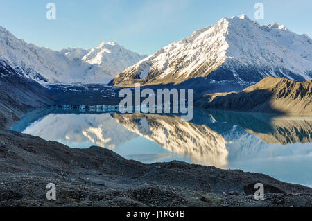 View of Lake Tasman in the Aoraki/Mount Cook National Park, New Zealand - Stock Photo