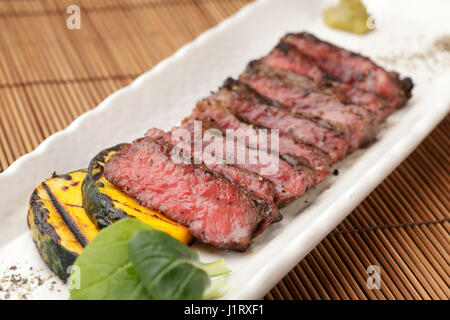 Grilled beef steak with sweet potatoes - Stock Photo