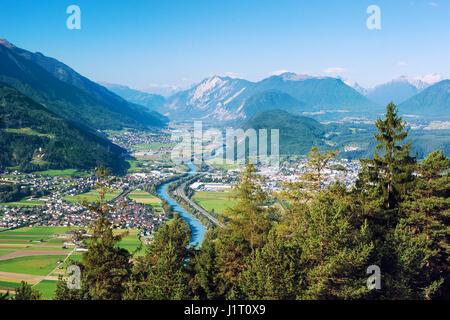 Panoramic bird's eye view of the cities Rietz, Telfs, Pfaffenhofen and the river Inn in Tyrol, Austria (Europe). - Stock Photo