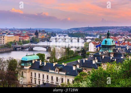 The view from Letenske Sady over the city of Prague and the river Vitava in the Czech Republic - Stock Photo