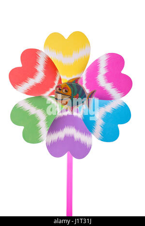 One windmill on white background - Stock Photo