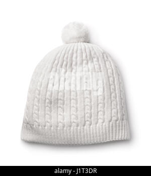 White winter knitted cap isolated on white - Stock Photo