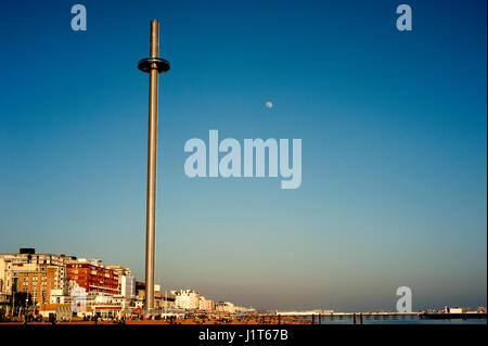 Brighton's i360, the world's tallest moving observation tower, opened in 2016 offering visitors 360 degree views - Stock Photo
