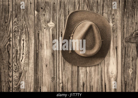 brown wool felt cowboy hat with leather headband hanging on weathered wooden wall of old barn, black and white platinum - Stock Photo