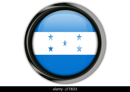 Honduras  flag in the button pin Isolated on White Background - Stock Photo