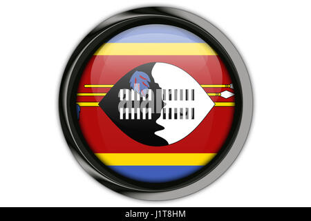 Swaziland flag in the button pin Isolated on White Background - Stock Photo
