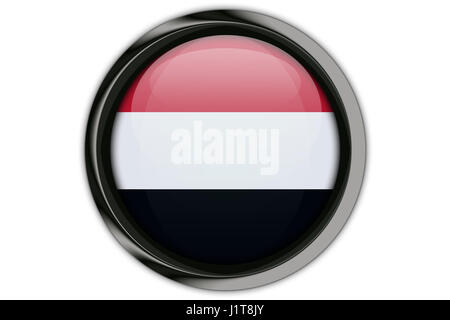 Yemen flag in the button pin Isolated on White Background - Stock Photo