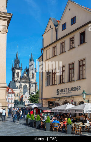 Cafe in Franz Kafka Square looking towards Old own Square and Church of Our Lady before Týn, Staré Město, Prague, - Stock Photo