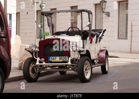 PRAGUE, CZECH REPUBLIC - APRIL 21, 2017: Vintage Ford car parked in the streets of Prague - Stock Photo