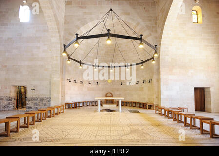 Tabgha, place of the miracle of the multiplication of the loaves and fishes - Stock Photo