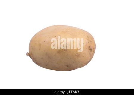 fresh medium sized potato on white background - Stock Photo