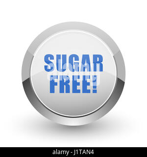 Sugar free chrome border web and smartphone apps design round glossy icon. - Stock Photo