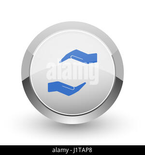 Human care hand chrome border web and smartphone apps design round glossy icon. - Stock Photo