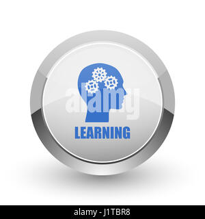 Learning chrome border web and smartphone apps design round glossy icon. - Stock Photo