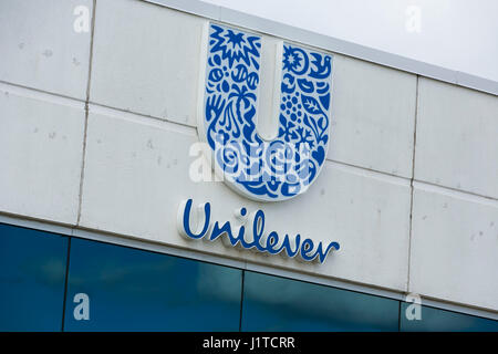 A logo sign outside of a facility occupied by Unilever in Mississauga, Ontario, Canada, on April 16, 2017. - Stock Photo