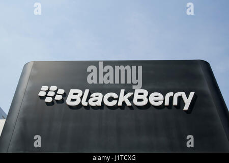 A logo sign outside of the headquarters of BlackBerry Limited, in Waterloo, Ontario, Canada, on April 15, 2017. - Stock Photo