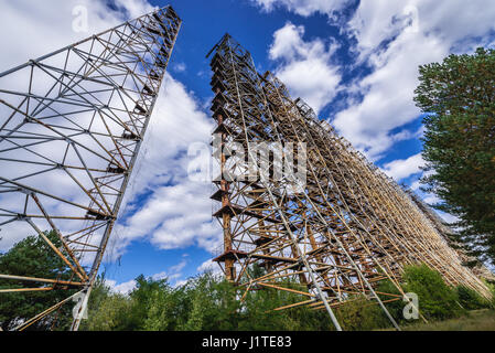 Ground view of old Soviet radar system called Duga near Cherobyl town in Chernobyl Nuclear Power Plant Zone of Alienation - Stock Photo