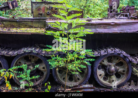 Irradiated vehicle used for clean-up operation after Chernobyl accident in Chernobyl Nuclear Power Plant Zone of - Stock Photo