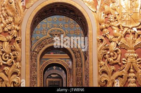 Interior St John's Co-Cathedral (Kon-Katidral ta' San Ġwann), Valletta - Stock Photo
