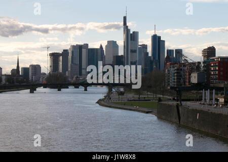 die Skyline von Frankfurt am Main u.a. mit der Commerzbank Zentrale, dem Heleba Gebaeude und anderen Wolkenkratzer, - Stock Photo