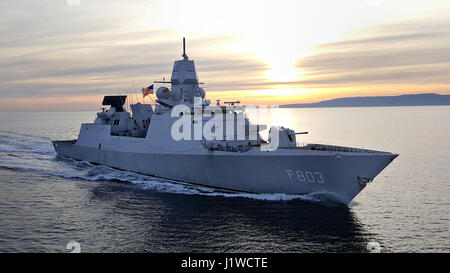 The Royal Netherlands Navy De Zeven Provincien-class frigate HNLMS Tromp steams underway during exercise Joint Warrior - Stock Photo
