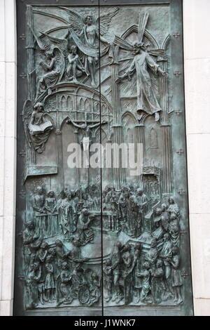 Door of Almudena Cathedral (Santa María la Real de La Almudena), Madrid, Spain. Inauguration of the Cathedral by - Stock Photo