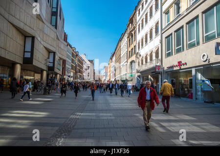 Munich-Bavaria-Germany. March 29, 2017. View of Kaufingerstraße (Kaufinger street) with people walking. Near the - Stock Photo