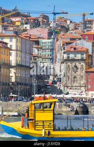 Ribeira Porto Portugal, view of the historic old town waterfront buildings of the Ribeira district along the Douro - Stock Photo