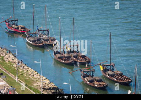 Rabelo boat Porto, traditional rabelo boats moored along the Douro waterfront in Porto, Europe. - Stock Photo