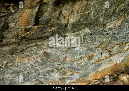 Rock art, ancient San paintings, Tsodilo Hills, Botswana, Africa - Stock Photo