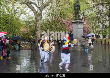 New York, NY 22 April 2017 - Korean NYU Students drum procession in Washington Square Park on Earth Day. © Stacy - Stock Photo