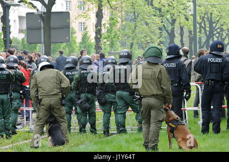Thousands of left wing militants protest May Day neo-nazi march, in Berlin-Prenzlauerberg - Stock Photo