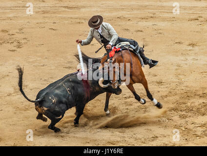Spain, Catalonia , Barcelona. Arena ' Monumental ' bullfighting . Episode bullfighting . - Stock Photo