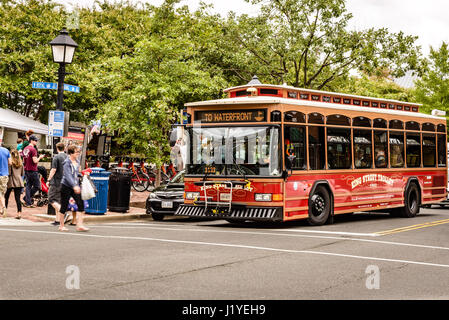 King Street Trolley passing Market Square Farmers Market, Old Town Alexandria, Virginia - Stock Photo